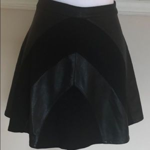 Jessica Simpson Leather Panel A-Line Skirt